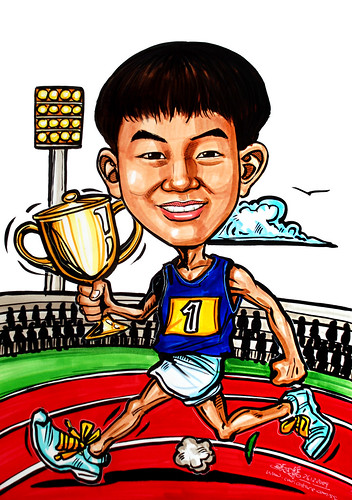 running champion caricature with trophy