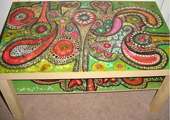IKEA Table Redo (Rick Cheadle Art and Designs) Tags: blue red brown white abstract black color colour green art floral illustration outside design cool acrylic hand purple graphic dragonfly furniture folk circles painted funky exotic handpainted oil naive spiritual decor eclectic embossed acrylics whimsical ecclectic rickcheadle anniesloanchalkpaint shabbyfrench