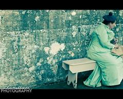 Memories of Secret Handshakes (Mel Sinclair) Tags: woman green hat wall bench nikon dress australia worn postprocessing historyalive d700 chamellieon