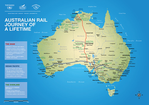 Map of the Australian luxury train routes
