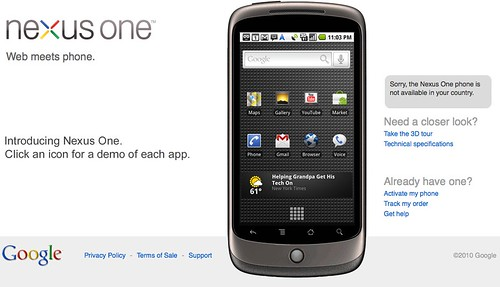 nexus one no available in your country