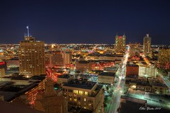 San Antonio Skyline (Ellen Yeates) Tags: city light vacation people skyline night sanantonio canon shopping boat ellen san downtown tour mark iii tourist resturant antonio 1ds hdr topaz bulding sanantoniotexas yeates canonmarkiii1ds