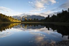 Lake Matheson, NZ (stevoarnold) Tags: newzealand cloud mountain reflection tree water crystal peak clear lakematheson mountcook blogtravel