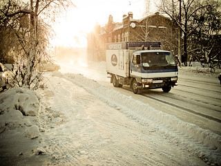 Frosty morning and Ice-cream truck