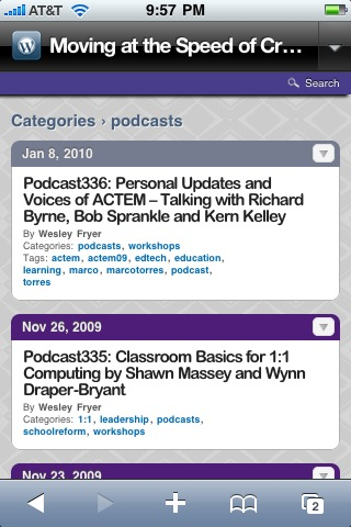 "My blog's ""podcast"" category running the WPtouch plug-in"