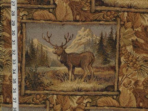 Elk mountain lake tapestry fabric