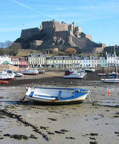 Mont Orgueil at low tide