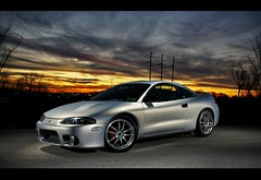 (Andrew Barshinger Photography) Tags: auto sunset sky color car wheel eclipse flash engine fast mitsubishi strobe strobist