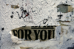 For you (Che-burashka) Tags: sign wall night pattern text plaster surprise foryou nottinghill papercutting 400d urbanlyric gettyskn gettyskngroup