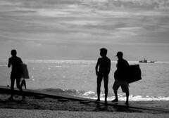 Bodyboarders (Carlos Ebert) Tags: brazil beach silhouette rio riodejaneiro backlight bodyboarder