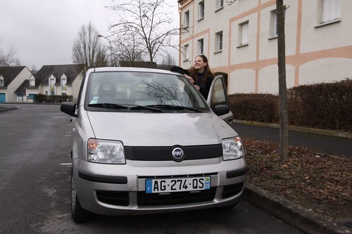 Elodie and her Fiat Panda...