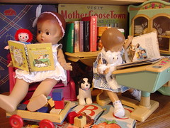 Books Are Read on Rainy Days (raining rita) Tags: dog barn bug dolls books poodle blocks 1942 patsy whitman raggedyann schooldesk effanbee patsyette boughttoyoubytheletterb minigoldenbooks briarberryfurniture