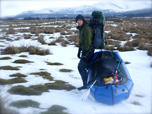 Across Scotland by foot and packraft - heading cross country when the river was frozen