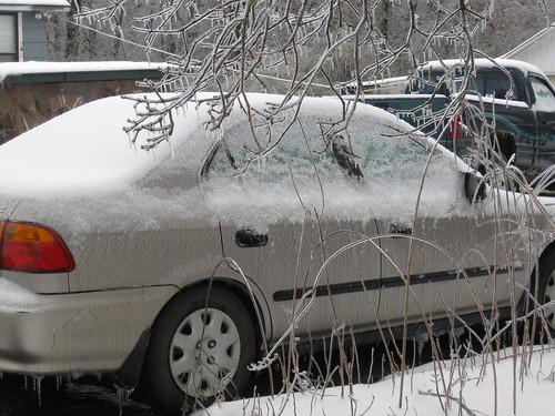 My snowy icy car