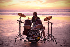 (Aprille Janine) Tags: ocean sunset portrait beach wet water self drums sand drumset