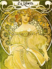 New Old Stock from Green Tiger Press, Alphonse Mucha's 'Reverie', bookplate