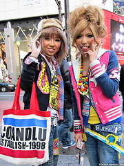 Shibuya Hair & Makeup (tokyofashion) Tags: street girls cute fashion tongue japan japanese tokyo belt colorful shibuya style blondehair stickingouttongue streetfashion shibuyagirls