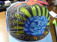 pimped my trucker hat (mr GREN) Tags: hat fashion tattoo illustration drawing brain oldschool rockabilly customized calligraphy doityourself mrg misterg fuckitall uniposca useyourhead trukerhat