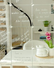 Love mirrors... (Iro {Ivy style33}) Tags: pink white love ikea handwriting reflections diy tulips teapot handwritten silverink lovethoughts lovemirrors