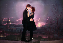 City Scape for Valentin's Night (claudiaveja) Tags: city woman man black love girl night evening mixed italian couple dress body profile fulllength young formal romance jacket together blond attractive romantic belvedere transylvania facetoface celebrate amore readhead valentinesday clujnapoca facing ware littleblackdress caucasian amorous fashionmodel cetatuie lookingintoeachotherseyes