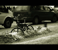 Snow Bike (-Canonist-) Tags: winter bw snow cold ice car bike canon suomi finland eos daylight blackwhite helsinki streetphotography greatphotographers 85mm18 50d