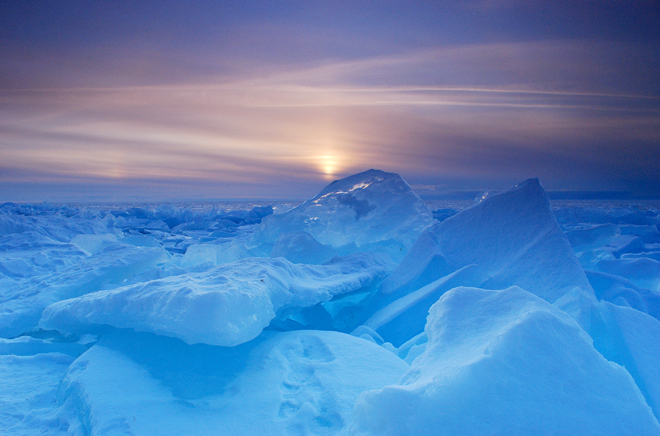 Blue ice at sunset