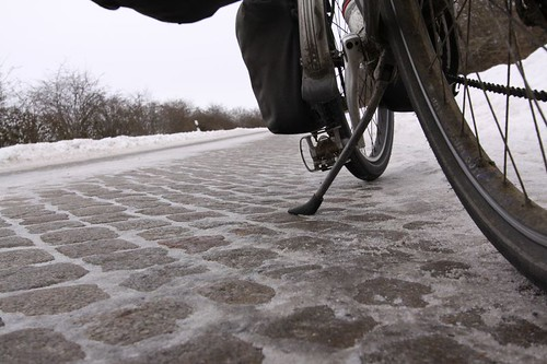 Smooth (if slippery) cobble-stoned road in Schleswig-Holstein, Germany.