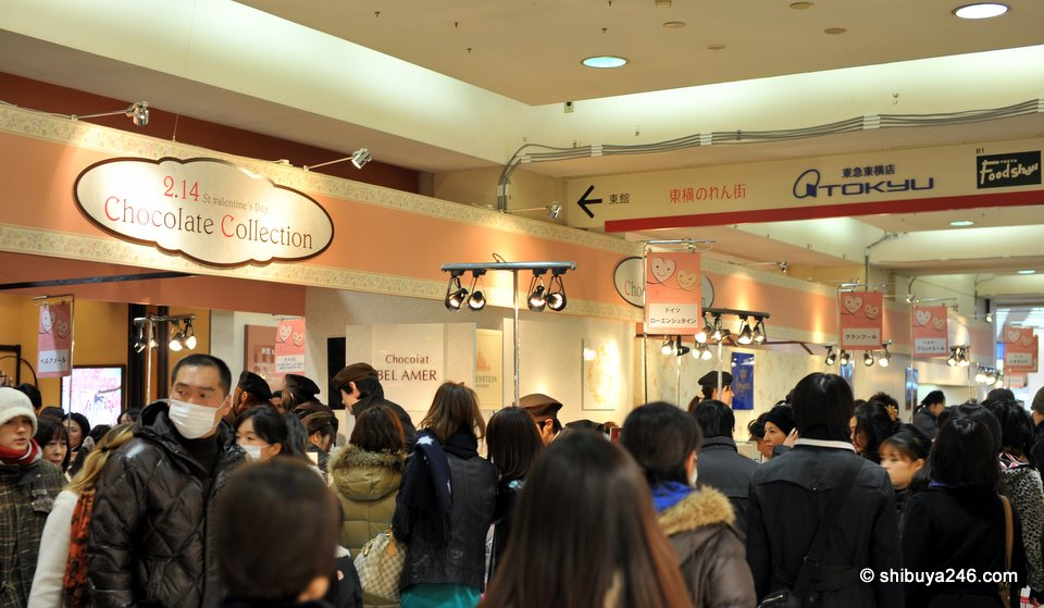 Lots of chocolate selling stalls set up in the passageway between the Tokyu Stores. It became difficult to walk through the area with all the people making last minute chocolate purchases.