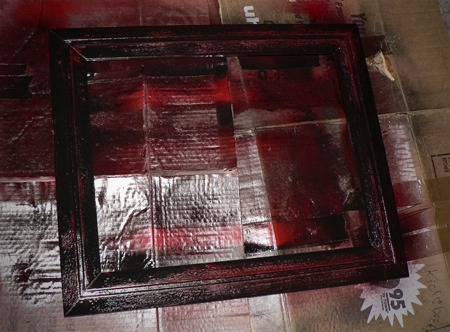 black paint over red frame mess