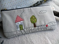 back of the Watch Out pouch ... (monaw2008) Tags: house tree quilt handmade mini fabric applique pinwheels freemotion monaw monaw2008 dqs8 dollquiltswap8