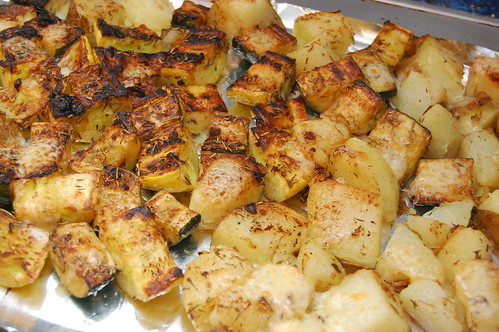 Broiled Zucchini, Yellow Squash and Potatoes, Lightly Herbed & Sprinkled with Cheese1