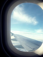 Something about airplanes. (Oh, Inverted Girl) Tags: sky window plane airplanes wing about something lightness
