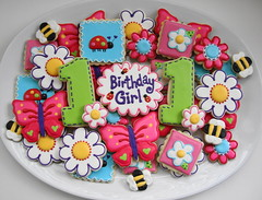Little Critters Birthday Set (SweetSugarBelle) Tags: flower cute butterfly spring cookie bright bee bumblebee daisy ladybug