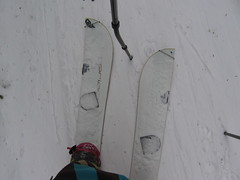 Splitboad in skinning mode and bent touring pole