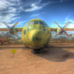 Lockheed 100-A Hercules transport airplane (kevin dooley) Tags: old two arizona color green museum plane airplane army nose us tucson space air united transport large first pima propellers states blade lockheed retired hdr 1950 hercules grounded flown photomatix 100a hdrcreativeshots