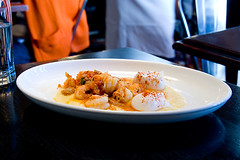 shrimp-and-grits (food_in_mouth) Tags: food ny newyork shrimp brunch tribeca grits locandaverde