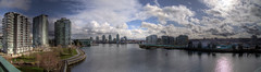 Day 216/365.... The City of Olympics Dreams (Justin Kraemer Photography) Tags: city winter panorama skyline vancouver buildings river pano yaletown falsecreek olympics cambie hdr olympicvillage 2010 winterolympics vancouverolympics cambiebridge 2010winterolympics hdrpanorama hdrpano