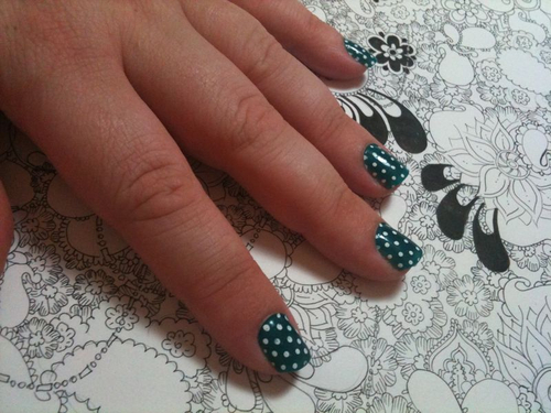 green with white dots