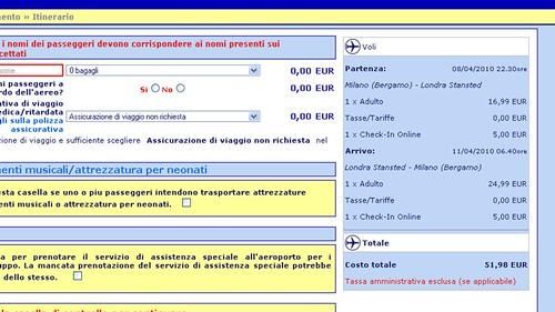 Milano Orio - Londra Stansted Ryanair