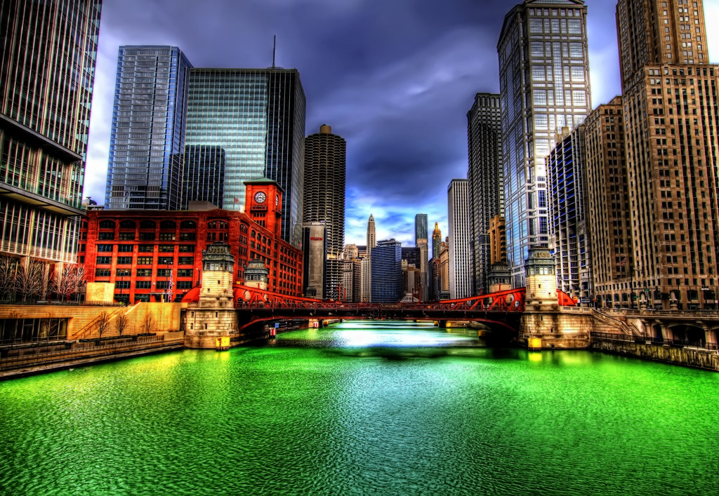 The Chicago River after being dyed for St. Patrick's Day.