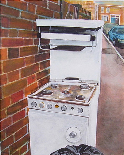 Ol Stove, Acrylic on Canvas, 20cm x 25cm by Robin Clare