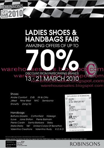 13 - 21 Mar: Robinson Ladies Shoes and Handbags Fair