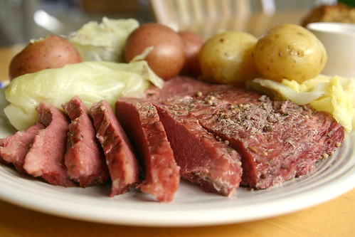 corned beef + cabbage + potatoes