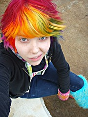 I miss this hair (Megan is me...) Tags: lighting blue light red portrait orange color green colors smile fashion rose yellow self hair effects photography grey one diy clothing crazy rainbow eyes furry colorful neon pretty colours russell mckay natural bright fuzzy unique awesome meg leg violet plum tie megan style nuclear special clothes kind fishbowl iguana jerome rave colored dye warmers mayhem punky striped bleached dyed napalm sfx rosered megface meganisme bleachednapalmorange