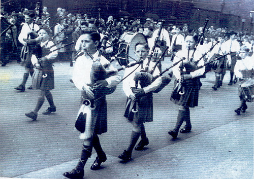 St Francis pipe band (juniors), Gorbals, 1950s.