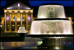 Wiesbaden - Streaming Fountains at the Kurhaus at Night (Yen Baet) Tags: longexposure travel reflection water architecture night germany deutschland twilight bath opera stream europe theater wiesbaden columns casino bluehour fountains kurhaus spa neoclassical spatown spielbank spahouse nikon70200mmf28 kingwilliamll nikon700 kaiserwilhelmll