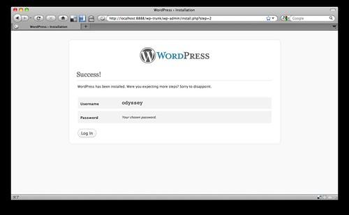 WordPress 3.0 インストール 入力したアカウント情報の決定画面