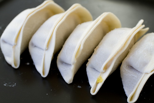 frozen dumplings in a row