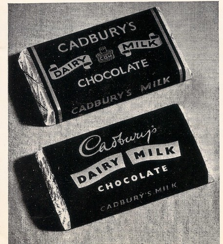 Cadbury's Dairy Milk packaging, design by Norbert Dutton - 1955 by mikeyashworth
