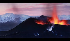 Fire and Ice - Eyjafjallajkull Eruption (orvaratli) Tags: travel mountains hot cold stone landscape volcano lava iceland glacier ash volcanic eruption magma katla icelandic eyjafjallajkull myrdalsjkull moltenrock arcticphoto tinfjallajkull rvaratli orvaratli